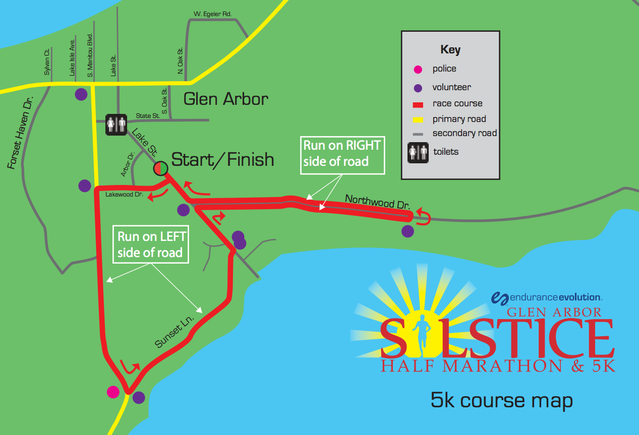 Endurance Evolution Glen Arbor Solstice 5K Course