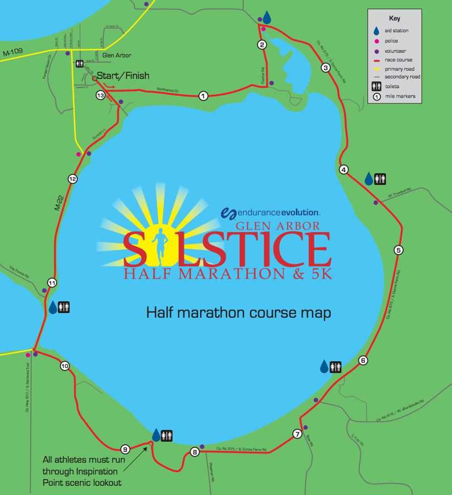 Endurance Evolution Glen Arbor Solstice Half Marathon Course